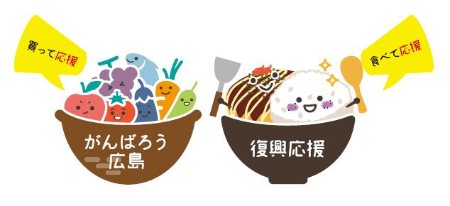 """努力""""吧的广岛""""""""买,是帮助""""!吃,支援!举行努力吧的广岛复兴帮助交易。"""